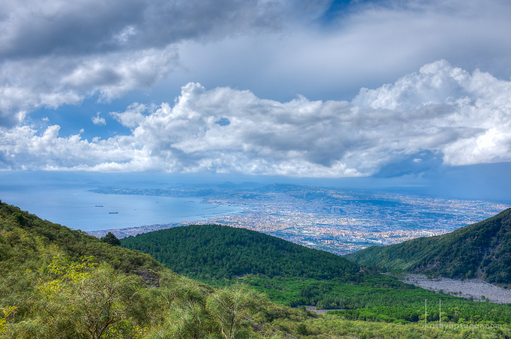 City of Naples from Mount Vesuvius. Check those clouds out.